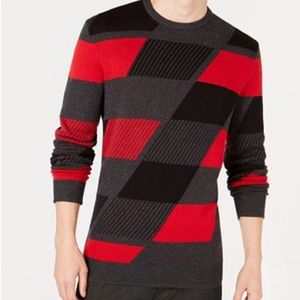 NWT Alfani Men's Red Black Grey Sweater Size XXL